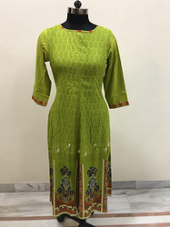Lavanya Panel design-  green kali kurti