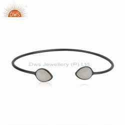 925 Silver Rhodium Plated Rainbow Moonstone Gemstone Cuff Bangle