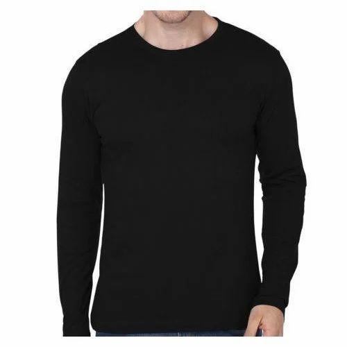 4873aead6 Mens Cotton Full Sleeves Black T Shirt