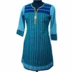 Cotton 3/4th Sleeve Ladies Fancy Kurti