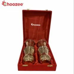 Choozee - Stainless Steel Copper Matka Glass Set of 4 Pcs