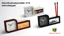 Clock with Pad and Pen Holder (with Writing Pad)