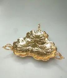 Three Sided Handle Gold Platter FB1067