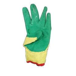 Leather Yellow And Green Gloves