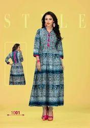 Cotton 3/4th Sleeve Printed Fancy Anarkali Kurti