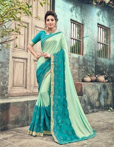 Chiffon Net Embroidered Saree with Blouse Piece, Length: 6.3 m