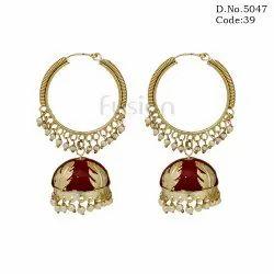 Trendy Pearl Meenakari Jhumka Earrings