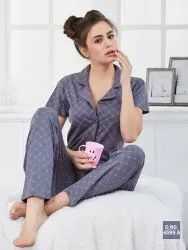 Full Sleeves Printed Ladies Front Open Night Suit, Size: M L XL XXL, 15-50