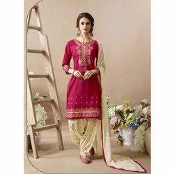 Stitched Ladies Synthetic Punjabi Suit, Machine wash