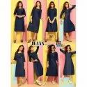 Tk- Denim Print Kurti With Side Cut