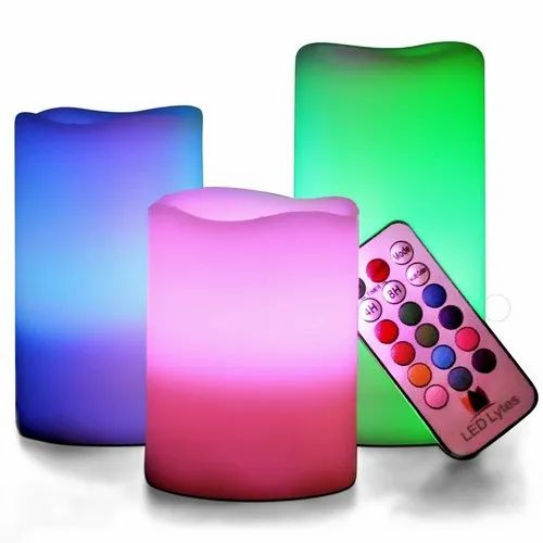 Plastic Round LED Remote Candle, Alkaline