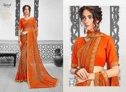Orange Colour Party Designer Wear Saree