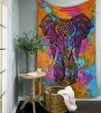 Multi Tye Printed Elephant Tapestry