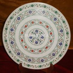 Round Marble Stone Pietra Dura Plate