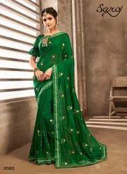 Designer silk saree with embroidery butta
