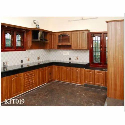 Wooden Solid Wood L Shape Modular Kitchen