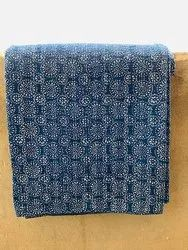 Printed Indigo Kantha Bed Cover