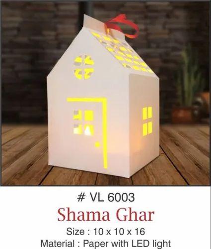 9faf7c621ad58 White Paper Lantern Shama Ghar With LED Light