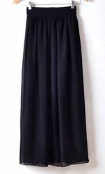 Black Full Length Chiffon Skirt