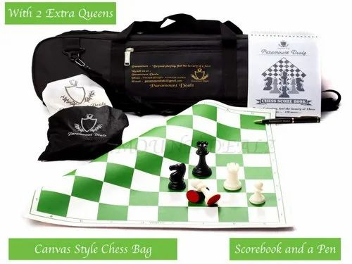 Paramount Dealz Plastic Vinyl Chess Set with 2 Extra Queens and Bag 17x 17""