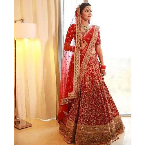 283e93591b336 Large Chanderi And Georgette Designer Bridal Lehenga