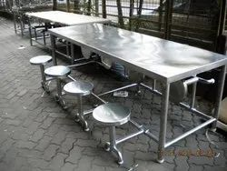 salem stainless steel Industrial Dinning Table, Size/Dimension: 94x30x30, stainless steel