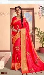 Red Color Fancy Sana Silk Saree with Border and Embroidery Butta