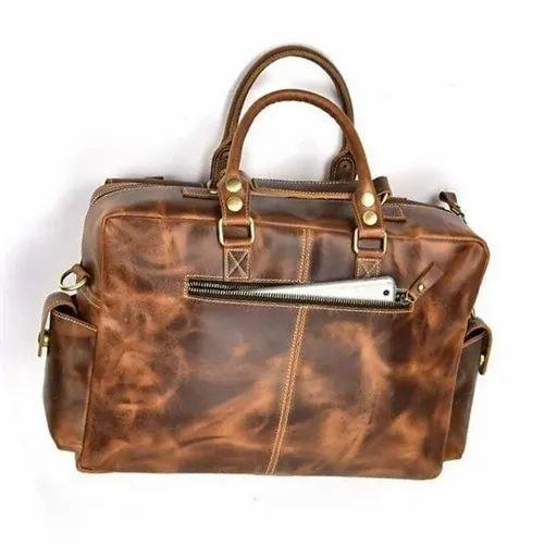 Dark Brown Leather Office Hand Bag