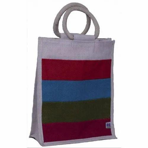 cda1deb76 Multicolor India Jutes Multi Colored Striped Jute Lunch Bag ...