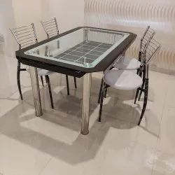 Metal WHITE AND BLACK DINING TABLE, for Home