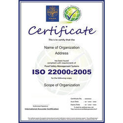ISO 22000:2005 Certification & Consultancy Service
