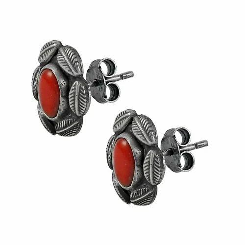 6d61da651 Pearl India International Possessing Coral Gemstone 925 Sterling Silver  Stud Earrings