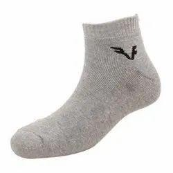 Gray Cotton Lycra Mens Light Grey Quarter Socks