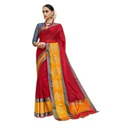 Red & Yellow Colored Festive Wear Cotton Silk Saree