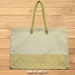 Rope Handle Juco Shopping Bag With Gold Print, Capacity: 8 To 10 kg