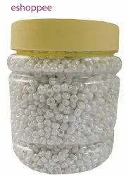 eshoppee 8/0 3mm 200 gm White Luster Color Pot Glass Seed