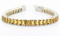 925 Citrine Octagon Link Silver Bracelet