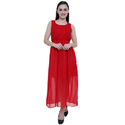 Red Georgette Sleevless A-Line Dress, Size: S & M