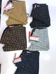 Cotton Office Wear Mens Check Trousers