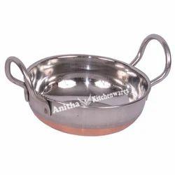 Stainless Steel Round Copper Bottom Kadai