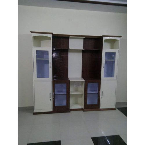Beau Plywood And Sunmica White And Brown Wooden Storage Wardrobes