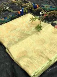 Pure Banarasi Silk Saree With Pure Golden Zari Yarn