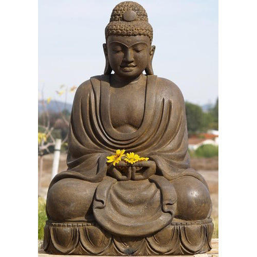 Ordinaire On The Rock Brown Buddha Garden Statue