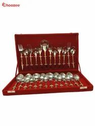 2 Tone Copper / Stainless Steel Cutlery Set of 27 Pcs in Velvet Set
