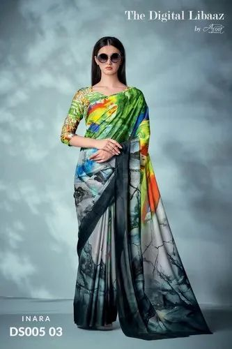 e6b9d76ea7 Multicolor Silk Digital Printed Saree, Rs 1399 /piece, Maajisa ...