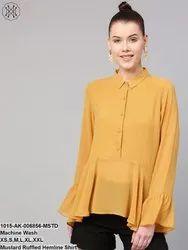 Mustard Ruffled Hemline Shirt