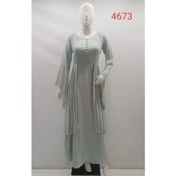 Modal Party Ladies Indo Western Gown, Wash Care: Dry clean