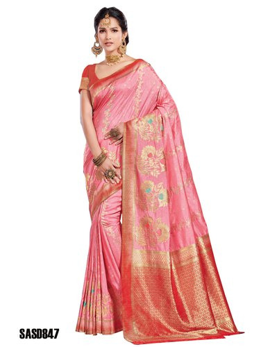 e0034b6302 TraditionalFashionDesigner Wedding Wear Pink Color Beautiful Silk Saree,  5.5 m (separate blouse piece)