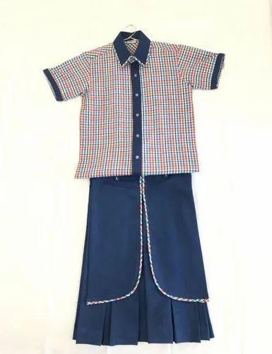 Girls Shirt And Divided Skirt School Uniform