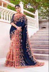 Silk And Georgette Bridal Saree/sari